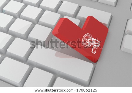 Loudspeaker against white keyboard with red key