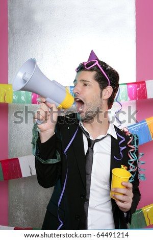Loudspeaker crazy party man shouting happy holiday