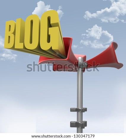 Loudspeaker makes big mega announcement of social media blog word - stock photo