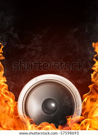 Loudspeaker on Fire and Water Isolated on Black Background. 2D graphics, computer designe - stock photo