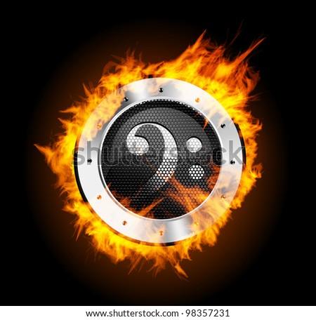 Loudspeaker on Fire Isolated Black Background - stock photo