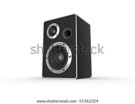 Loudspeaker on white. Computer generated image.