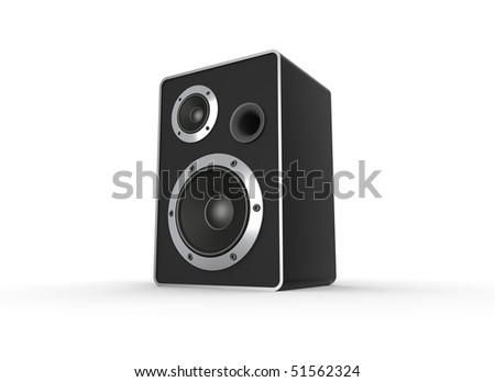 Loudspeaker on white. Computer generated image. - stock photo