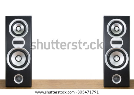 loudspeaker on wood floor and white wall background