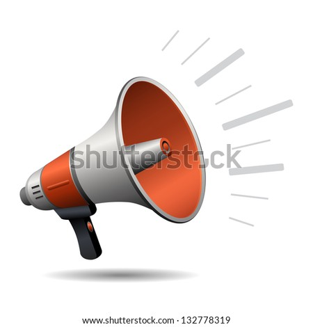 Loudspeaker or megaphone isolated on white background. Stylized icon - stock photo