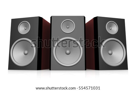 Loudspeakers against a white background Computer generated 3D illustration