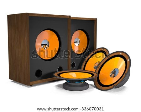 Loudspeakers and speakers are on a white background. - stock photo