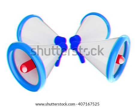 Loudspeakers as announcement icon. Illustration on white . 3D illustration. Anaglyph. View with red/cyan glasses to see in 3D. - stock photo