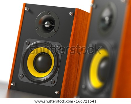 Loudspeakers - Perspective View - stock photo