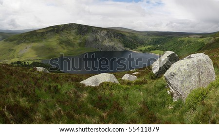 Lough Tay in the Dublin Mountains.Also known as the Guinness Lake. - stock photo