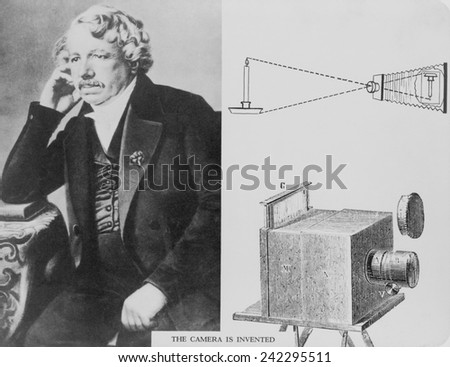 Louis Daguerre (1787-1851), with an illustration of the camera he invented. Ca. 1840. - stock photo