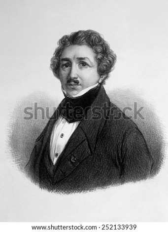Louis Jacques Mande Daguerre (1789-1951), inventor of the daguerreotype in 1839 - stock photo