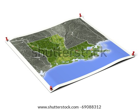 Louisiana on unfolded map sheet with thumbtacks. Map colored according to vegetation, with borders and major urban areas. Includes clip path for the background.