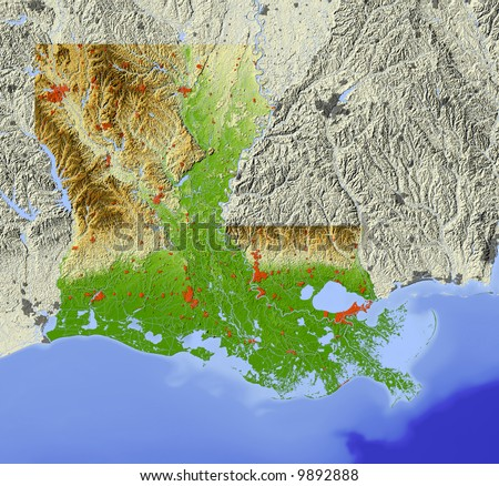 Louisiana. Shaded relief map.  Shows major urban areas and rivers, surrounding territory greyed out.  Colored according to relative terrain height. - stock photo
