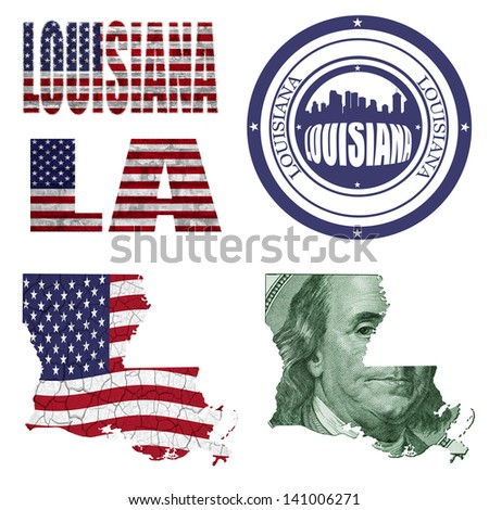 Louisiana state collage (map, stamp,word,abbreviation) in different styles in different textures - stock photo
