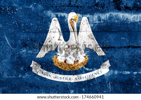 Louisiana State Flag painted on grunge wall - stock photo