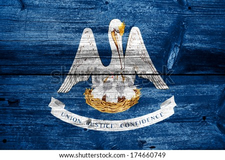 Louisiana State Flag painted on old wood plank texture - stock photo