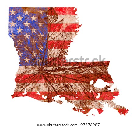 Louisiana state of the United States of America in grunge flag pattern isolated on white background - stock photo