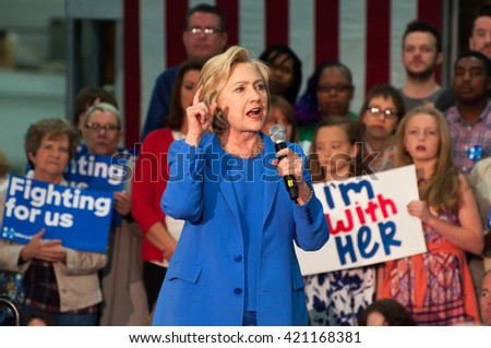 Louisville, Kentucky - May 15, 2016: Secretary of State Hillary Clinton campaigns to a crowd at a rally in Louisville, Kentucky.