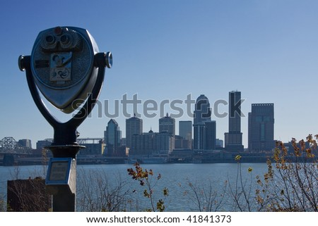 Louisville, Kentucky skyline with binocular viewer. - stock photo