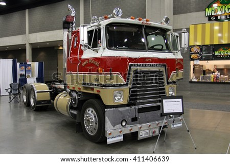 Louisville, Kentucky, USA March 31, 2016: Retro truck International 4070B Transtar II, model 1979 year, at Mid-American Tracking show 2016, March 31, 2016, Louisville, Kentucky