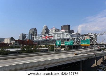 LOUISVILLE, KY - AUGUST 29: A view of the skyline of downtown Louisville, Kentucky on August 29th, 2015. Louisville is the largest city in the state of Kentucky.
