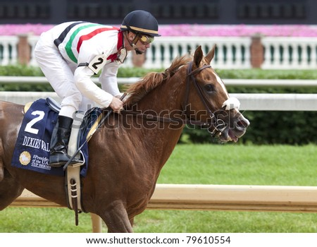 LOUISVILLE, KY - JUNE 18: Stephen Foster Day at Churchill Downs horse race track June 18, 2011 in Louisville, KY. Dixies Valentine (jockey Calvin Borel) finishes second at the Arabians race - stock photo