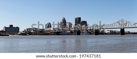 LOUISVILLE, KY - OCTOBER 2: A panoramic view of the riverfront area located in Louisville, Kentucky on October 2, 2011. Louisville is the 28th most populous city in the United States. - stock photo