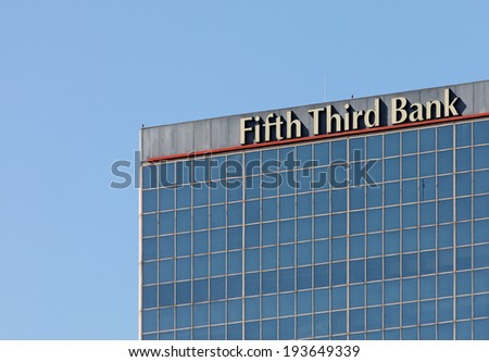 LOUISVILLE, KY - OCTOBER 2: The Fifth Third Bank Building located in downtown Louisville, Kentucky on October 2, 2011. Fifth Third Bank is a U.S. regional banking corporation headquartered in Ohio. - stock photo