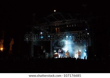 LOULE, PORTUGAL - JUNE 30: Boubacar Traora from Mali performs onstage in a world music festival at festival med on June 30, 2012 in Loule, Portugal. - stock photo