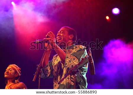 LOULE, PORTUGAL - JUNE 23: Femi Kuti & The Positive Force performs onstage at Festival Med June 23, 2010 in Loule, Portugal.