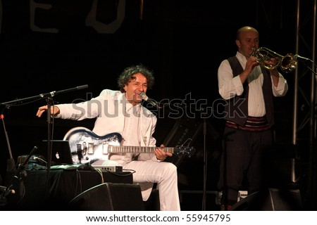LOULE, PORTUGAL - JUNE 24: Goran Bregovic and His Wedding  Funeral Band  performs onstage at Festival Med June 24, 2010 in Loule, Portugal.