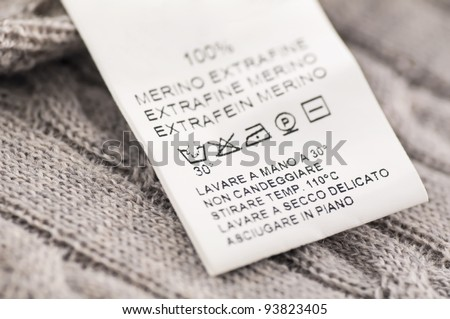 loundry symbols on the wool clothes - stock photo