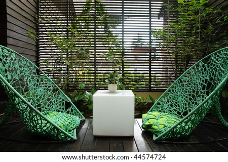 lounge area in Thai hotel - stock photo