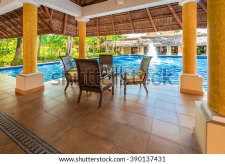 Lounge area, lobby, gallery, promenade of the  luxury caribbean, tropical hotel, resort. Reception area. Interior design. - stock photo