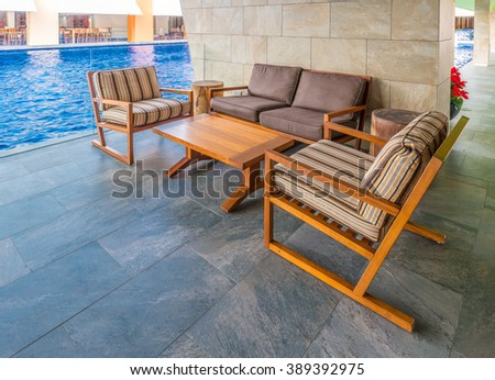 Lounge area of a caribbean, tropical style hotel, club, company, modern lobby.  Interior design.