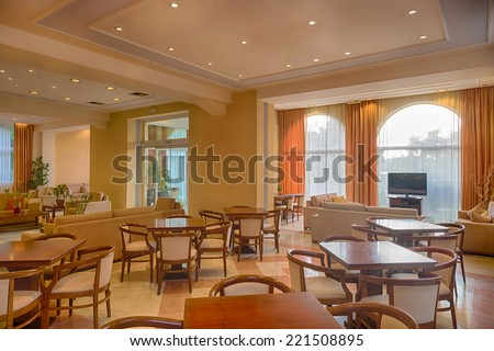Lounge area of a hotel, club, company lobby. Fragment of the modern lobby of the five stars hotel - stock photo