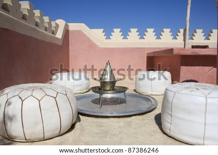 lounge area on a rooftop in Morocco - stock photo