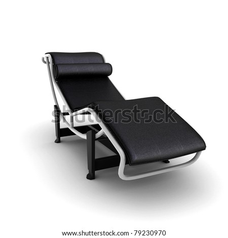 Lounge chair (over white background)  black leather - stock photo