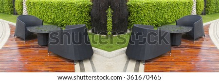 Lounge chairs in the garden, - stock photo