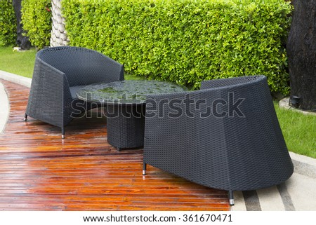 Lounge chairs in the garden,