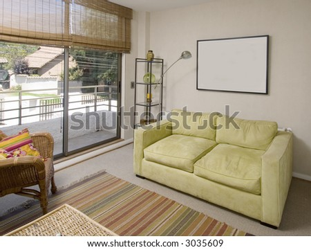 lounge of a second floor of a brand new house - stock photo