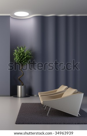 lounge room with wavy wall - stock photo