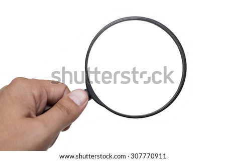 Loupe and Human Hand isolated on white Background