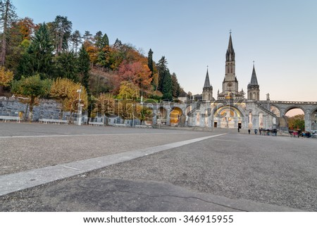 Lourdes Sanctuary view in early morning. - stock photo