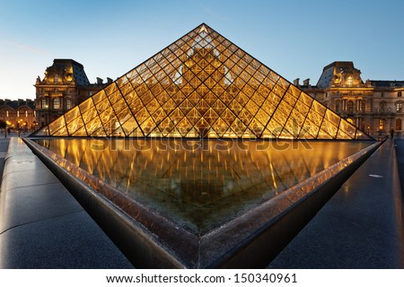 louvre - stock photo