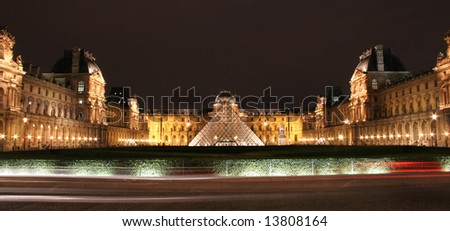 Louvre in night - stock photo
