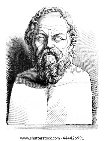 Louvre museum, Ancient bust of Socrates, vintage engraved illustration. Magasin Pittoresque 1843.