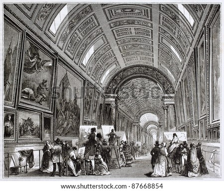 Louvre museum grand gallery old illustration. By unidentified author, published on Magasin Pittoresque, Paris, 1844 - stock photo