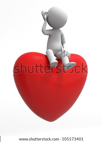 love/A man sitting on a heart - stock photo